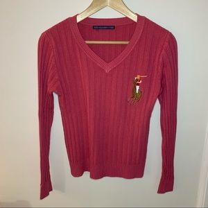 Vintage Ralph Lauren Pink Pony Sweater Small
